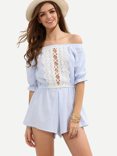 Summer Trendy Blue Striped Boat Neck Hollow Lace Jumpsuit