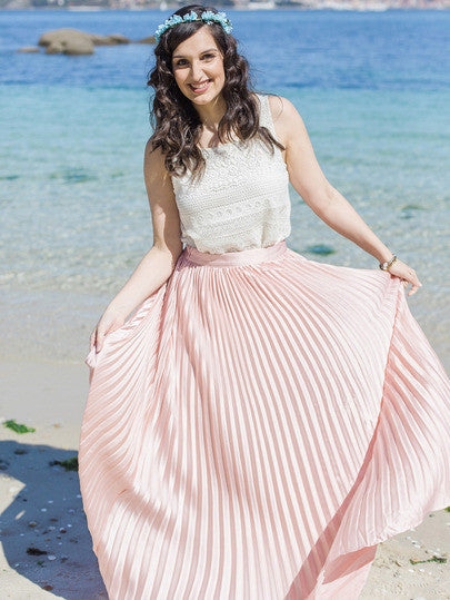 Summer Trendy Boho Pink Pleated Maxi Skirt