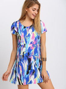 Summer Trendy Colorful Multicolor Print Short Sleeve Shift Dress