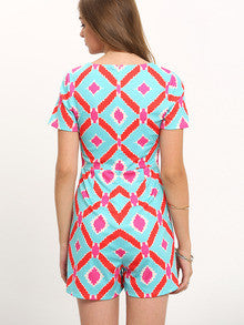 Summer Trendy Multicolor Short Sleeve Print Jumpsuit