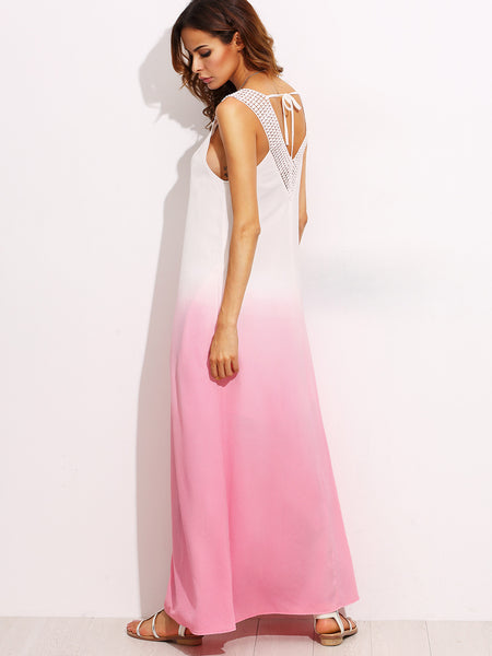 Summer Trendy Pink Ombre Tie Back Sleeveless Maxi Dress