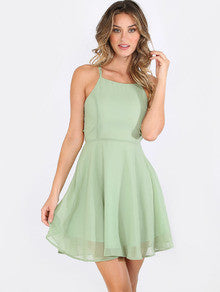Summer Mint Green Sleeveless Crisscross Lace Up Back Dress