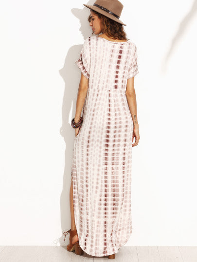 Tie Dye Print Maxi Dress with Double Splits