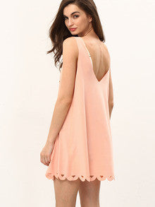 Trendy Apricot Soft Pink U Neck Hollow Shift Dress
