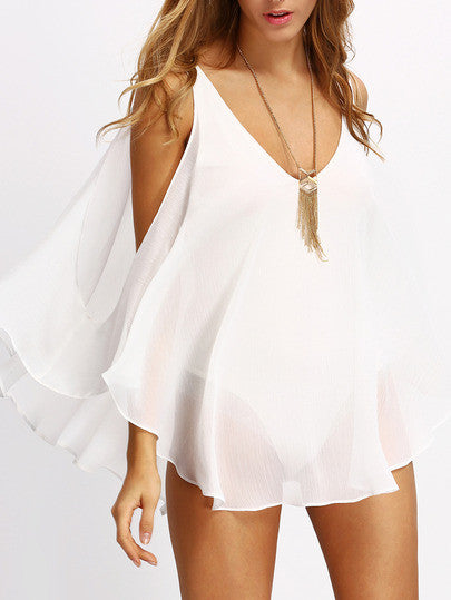 ✿ Trendy Boho Festival White Deep V Neck Open Shoulder Blouse ✿