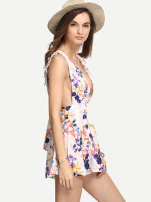 Trendy Boho Multicolor Sleeveless Flower Print Deep V Neck Jumpsuit