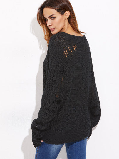 Trendy Ripped Off the Shoulder Black Sweater