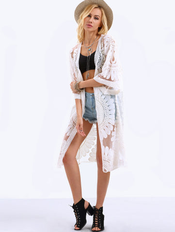 Trendy White Kimono with Half Sleeves