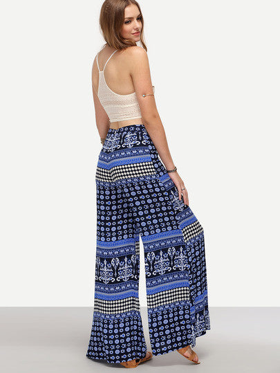 Trendy Summer Boho Tribal Print Wide-Leg Pants Blue
