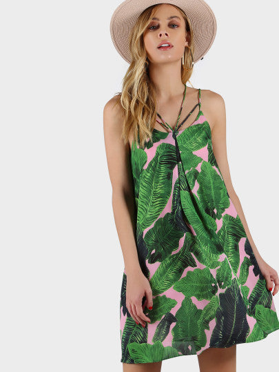 Tropical Print Swing Dress Perfect Vacation Chill Dress