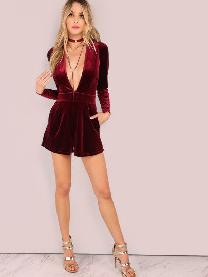 Velvet Long Sleeve Red Romper
