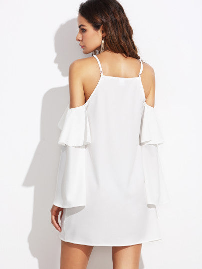 White Cold Top Ruffle White Dress