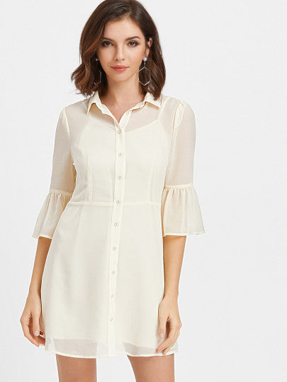 White Cream Sheer Flare Bell Sleeve Button Up Dress