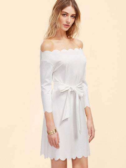 White Scallop Trim Off the Shoulder Bow Dress
