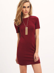 Women's Fashion Burgundy Casual Trendy Crew Neck Bodycon Dress