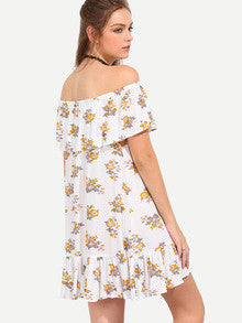 Women's Fashion Fresh Pastel Yellow White Multicolor Flower Print Off The Shoulder Ruffle Dress