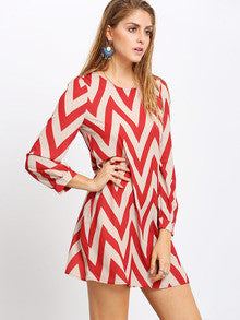 Women's Fashion Red Zag Print Crew Neck Shift Dress