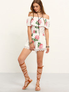 Women's Fashion Romantic White Off The Shoulder Flower Print Jumpsuit