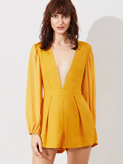 2b34650b7f Yellow Long Sleeve Low V Neck Romper – Lyfie