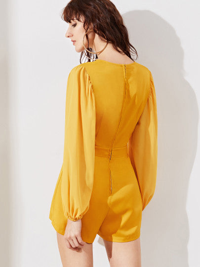 Yellow Long Sleeve Low V Neck Romper