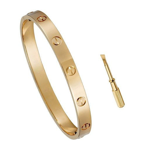 Stainless Steel Screw Head Oval Bangle Bracelet ( 6.5in or 7.5in )