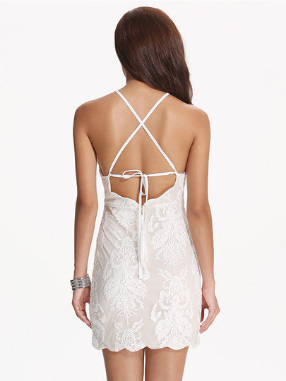 Beautiful White Holiday Dress Bodycon Backless Tie Embroidered Shoulder Strap Dress