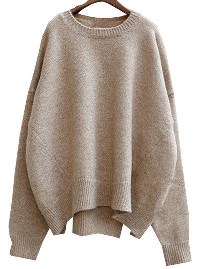Beige Loose Sweater Trendy Winter Season Sweater