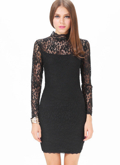 Black Lace Bodycon Dress Sexy Backless Long Sleeve Dress