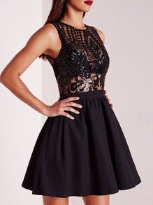 Sexy Black Dress Sleeveless Sequins Flare Dress
