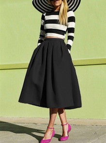 Black Midi Skirt Flare Pleated Trendy Long Skirt