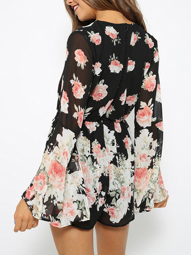 Black Floral Print Playsuit