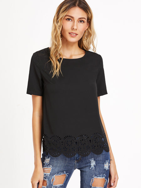 Black Scallop Hem Lace Crochet Short Sleeve Top