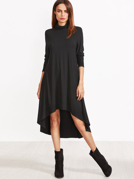 High Low Black Swing Dress with Turtleneck Top