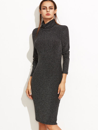 Black Knit Turtleneck Ribbed Pencil Dress