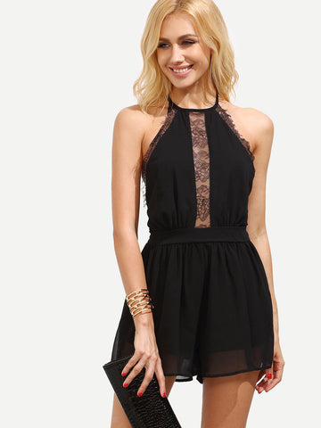 Black Lace Backless Romper