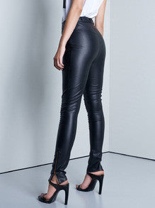 Black Leather Pants with Zipper Trendy and Sexy Leather Pants
