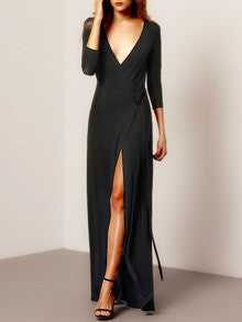 Black Maxi Dress with V Neck and Split