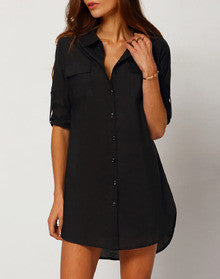 5c6e01b3f65 Black Shirt Dress Button Down – Lyfie