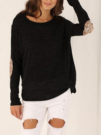 Loos Black T-Shirt with Sequins Elbow Patches