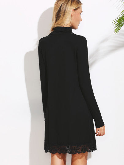 Black Winter Dress Lace Trim Shift Turtleneck Dress