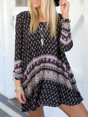 Vintage Print Boho Dress in Black and Blue