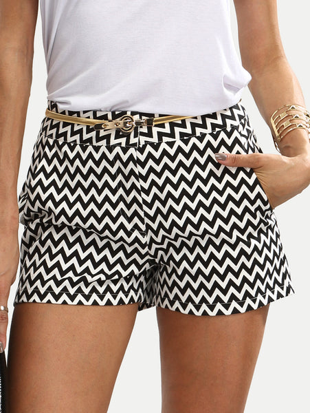 Black and White Shorts with Pockets