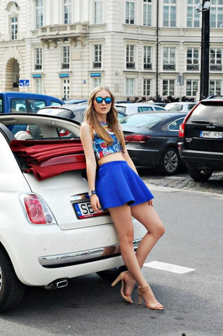 Blue Mini Skater Skirt