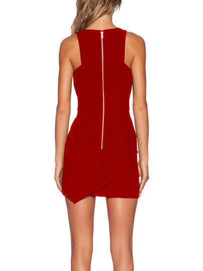 Red Bodycon Dress with Deep V Neck Red Sexy Party Holiday Dress
