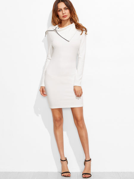 White Bodycon Zipper Turtleneck Dress
