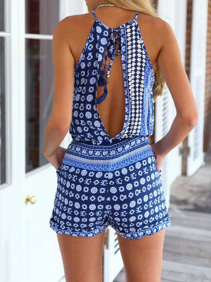 Bohemian Style Playsuit in Blue