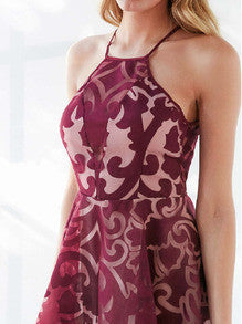 Burgundy Dress Geometric Print Organza Dress