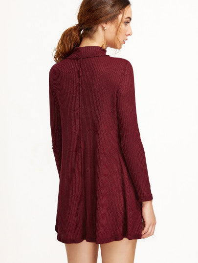 Burgundy Cut Out Neck Dress