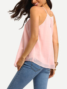 Cami Top Pink Spaghetti Strap Summer Top