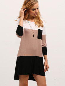 Color Block Dress White Coffee Black with Pocket